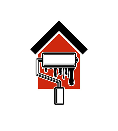 in the reconstruction: Paint roller icon, build materials for wall painting. House with work tools emblem, reparation. Home reconstruction idea, repair team vector symbol.