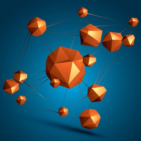 complicated: 3D vector abstract design object, polygonal complicated figures. Colorful three-dimensional deformed connected shapes, render.