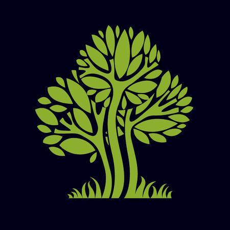 Artístico estilizada símbolo diseño natural, ilustración creativa árbol. Puede ser utilizado como la ecología y el concepto de conservación del medio ambiente. Ilustración de vector