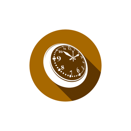 pocket watch: Old-fashioned pocket watch, graphic illustration. Simple timer, classic stopwatch. Time management symbolic icon.