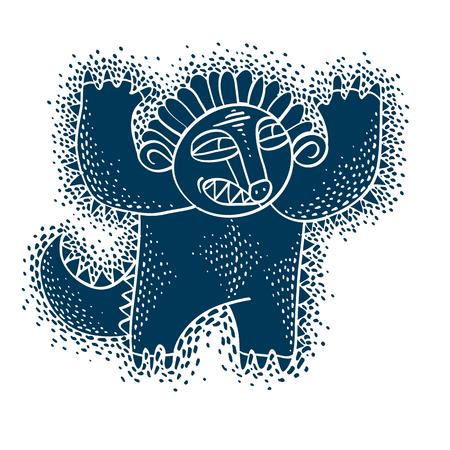 cartoon clipart: Vector cute Halloween character ogre, fictitious creature. Cool illustration of freak blue monster.
