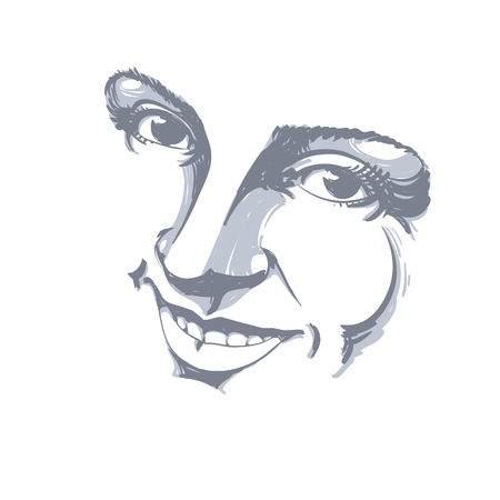 model posing: Hand-drawn illustration of woman face, black and white mask with emotions. Features of beautiful girl, posing for portrait. Caucasian type model posing for portrait.