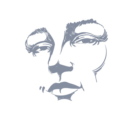 beautiful face: Hand-drawn monochrome portrait of white-skin flirting woman, face emotions theme illustration. Beautiful sexy lady posing on white background, girl with delicate face features.
