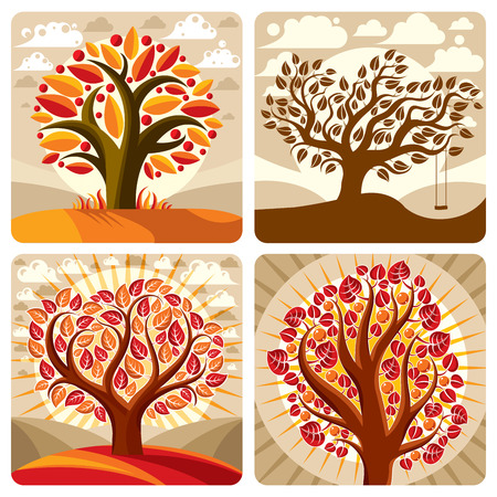 botany: Art illustration of orange trees growing on beautiful meadow, stylized eco autumn landscape with clouds. Vector botany element on harvest season idea, spring time idyllic picture.