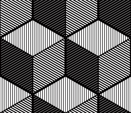 entwine: Seamless optical ornamental pattern with three-dimensional geometric figures. Intertwine black and white composition. Illustration