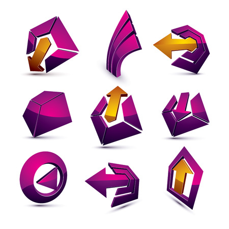 corporative: Vector 3d simple navigation pictograms collection. Set of purple corporate abstract design elements. Arrows and circular web icons.