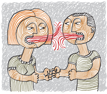 Quarrel between man and woman conceptual hand-drawn stripy illustration. Dispute metaphor, aggression between husband and wife.