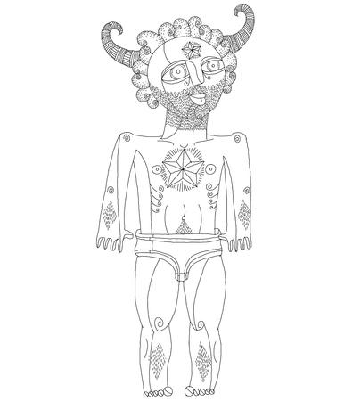 Vettore in bianco e nero illustrazione di uomo nudo, creatura mitica. Immagine disegnata a mano di persona isolata on successo che simboleggia bianco.