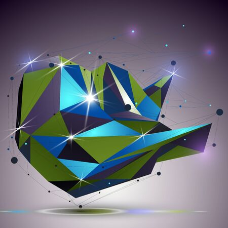 polished netting: Creative asymmetric polished object with lines mesh. 3d colorful shiny complicated engineering abstraction with lights effect. Bright netting modeling element.