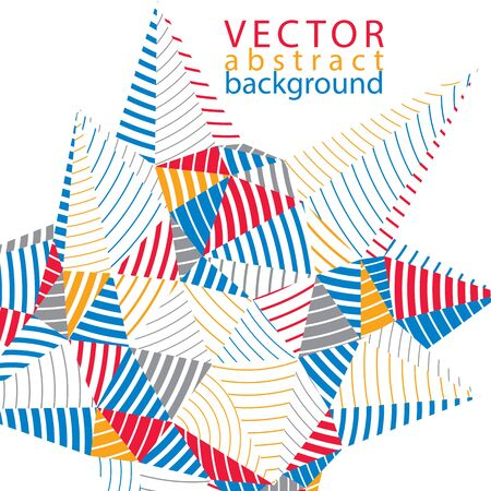 stripy: 3D vector abstract technology backdrop, geometric unusual stripy background. Origami bright three-dimensional shape. Illustration