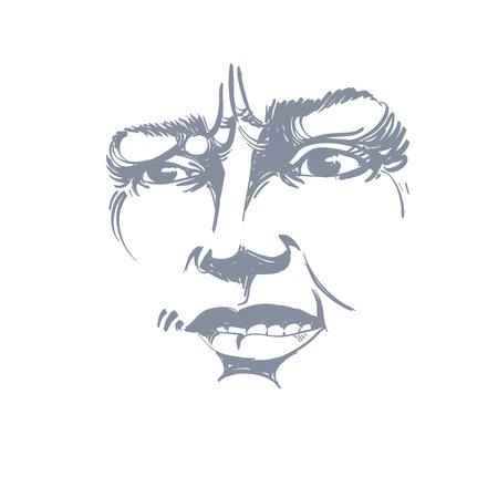 skeptic: Vector drawing of distrustful woman, face features. Black and white portrait of doubter lady, do not lie to me. Illustration
