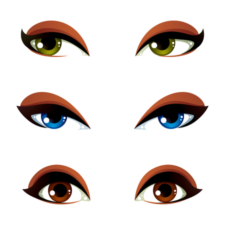 brown eyes: Set of vector blue, brown and green eyes. Female eyes expressing different emotions, face features of seducing women. Illustration