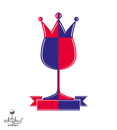 coronet: Royal decorative symbol with monarch crown and curved ribbon, art goblet best for use in graphic design. Imperial coat of arms – stylized coronet, wineglass illustration.