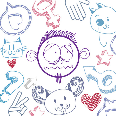 avant garde: Vector hand drawn cartoon sad boy. Education theme graphic design elements isolated. Social conversation idea drawing.