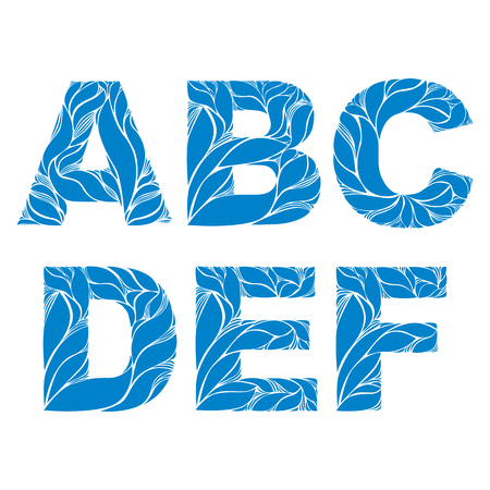 d: Blue delicate capital letters with marine ornament. Spring font with natural pattern, A, B, C, D, E, F.