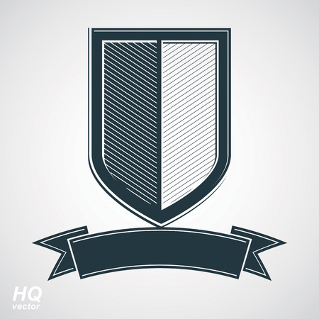 honour guard: Military award icon. Vector grayscale defense shield with curvy ribbon, protection design graphic element. Heraldic illustration on security theme - retro coat of arms. Illustration