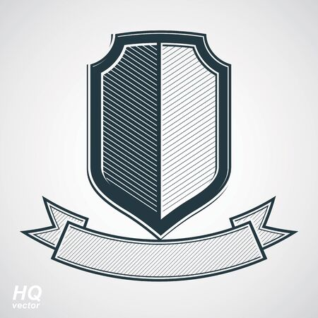 honor guard: Military award icon. Vector grayscale defense shield with curvy ribbon, protection design graphic element. Heraldic illustration on security theme - retro coat of arms. Illustration