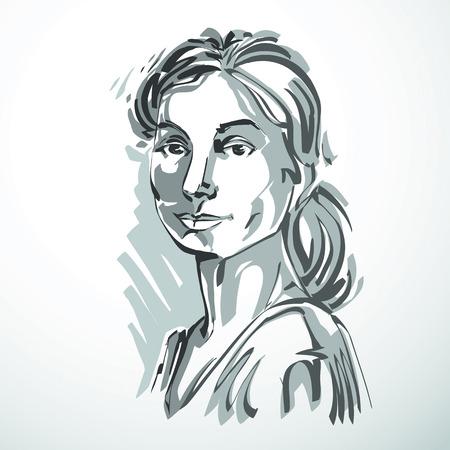 Dibujo vectorial de la hermosa mujer de confianza, retrato de estilo minimalista. blanco y negro ilustración, las expresiones emocionales de la mujer agradable.