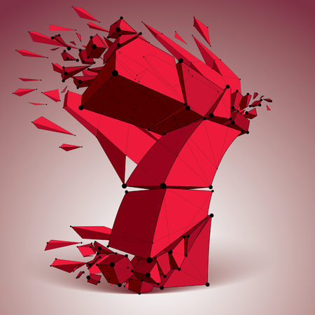Abstract vector low poly wrecked red number 7 with black lines and dots connected. 3d origami futuristic font with lines mesh.
