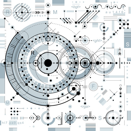 background lines: Future technology vector drawing, industrial wallpaper. Graphic illustration of engine or mechanism. Illustration