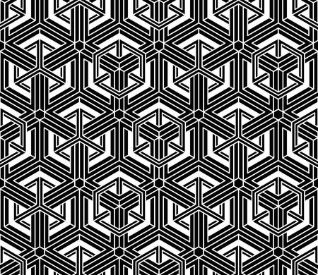 通常コントラストで無限のパターンが絡み合いフィギュア立体化、連続のつかみどころがない幾何学的な背景。