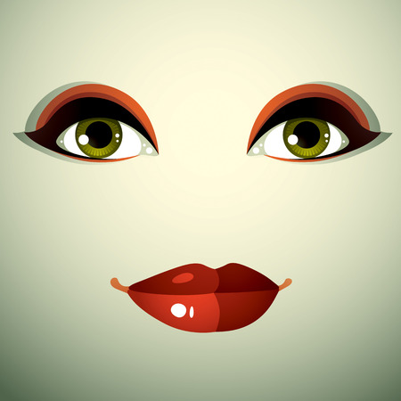 beautiful face: Emotional expression on the face of a cute girl. Beautiful sad and dreamy woman with a modern makeup. Illustration