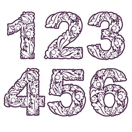 3 4: Stylish single color figures with herbal ornament. Beautiful numbers with floral pattern, 1, 2, 3, 4, 5, 6. Illustration