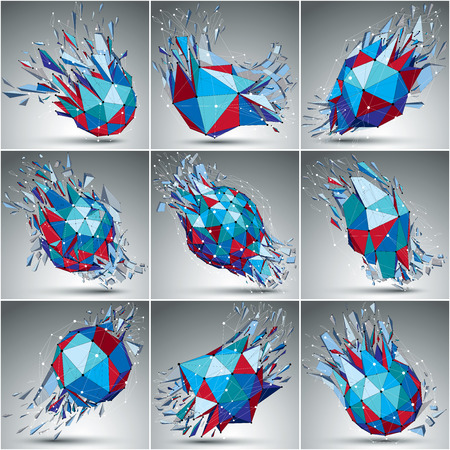 3d vector low poly objects with connected black and white lines and dots, set of colorful digital wireframe shapes with refractions. Collection of cybernetic perspective shattered forms.