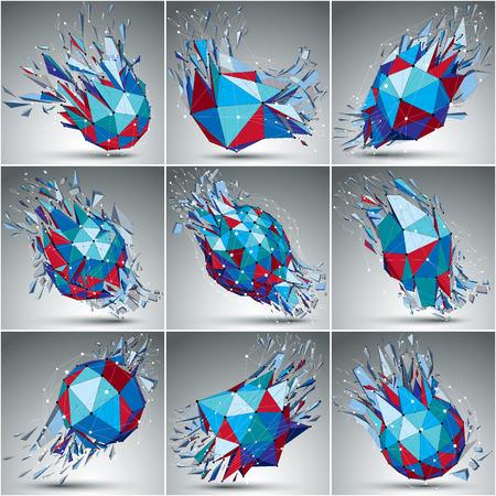 vector de objetos 3d poli baja con líneas y puntos blancos y negros conectados, conjunto de coloridas formas de mallas digitales con refracciones. Colección de la perspectiva cibernética añicos formas.