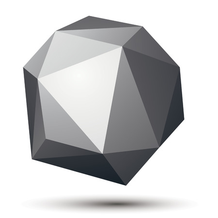 3D modern stylish abstract construction, origami facet spherical object, geometric figure. Vektorové ilustrace