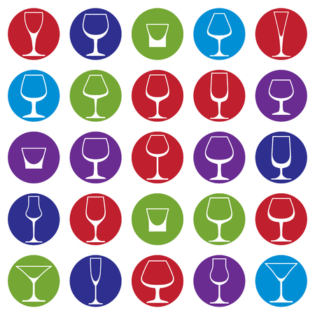 revelry: Classic goblets collection, martini, wineglass, cognac and whiskey. Alcohol theme vector illustrations. Lifestyle graphic design elements, set of simple glasses.