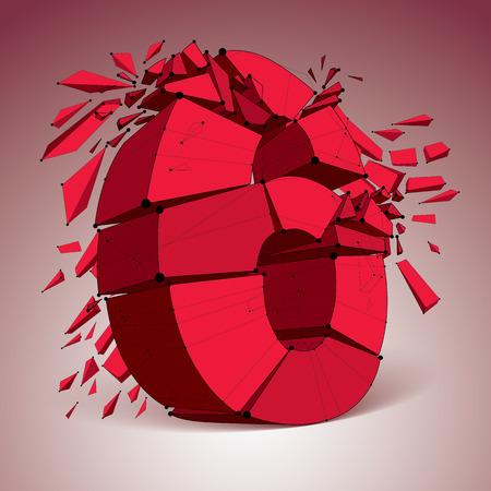 ベクトルの次元ワイヤー フレーム赤数 6、断片と破壊の数字。3 d メッシュ技術要素部分に分割します。