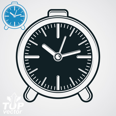 wake up: Vector elegant table clock, simple version included. Eps 8 high quality vector illustration. Wake up conceptual symbol. Web design element.