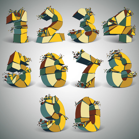 numbers abstract: Set of abstract 3d faceted golden numbers with connected black lines and dots. Vector low poly shattered math design elements with fragments and particles. Explosion effect. Illustration