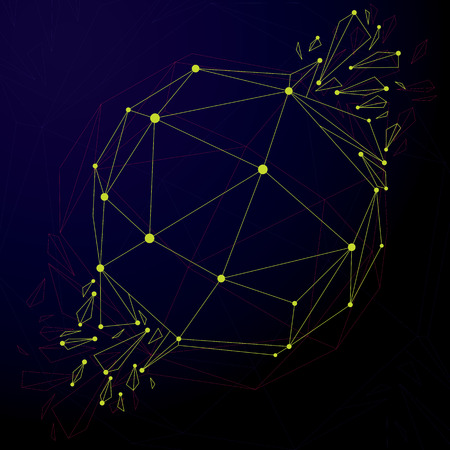 refractions: 3d vector digital wireframe spherical object broken into different particles and refractions, geometric polygonal structure with lines mesh. Low poly shattered shape, cyberspace lattice form.