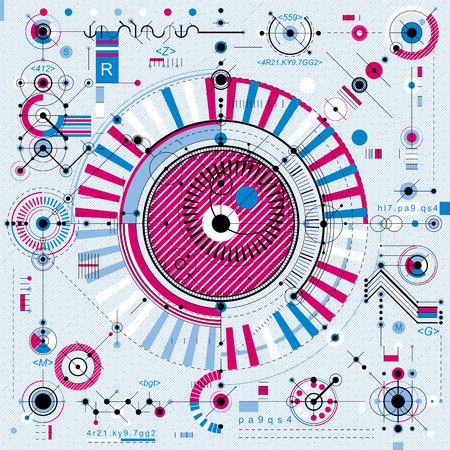 La tecnología del futuro dibujo vectorial, papel pintado industrial. Ilustración gráfica de motor o mecanismo. Ilustración de vector