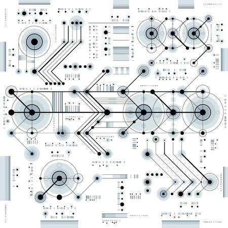 Dessin technique avec des lignes en pointillés et des formes géométriques, papier peint vecteur de technologie futuriste, projet d'ingénierie. Vecteurs