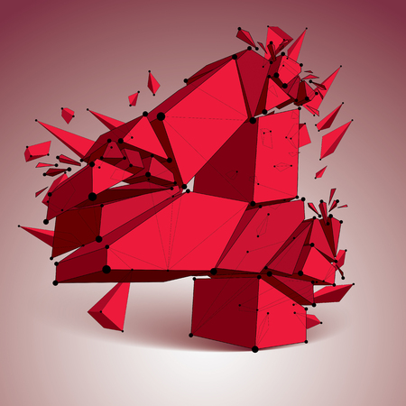 Perspective technology demolished red number 4 with black lines and dots connected, polygonal wireframe font. Explosion effect, abstract faceted element cracked into multiple fragments.