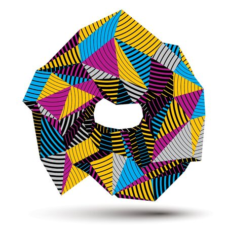 cybernetic: 3D contemporary style abstract stripy object, cybernetic vector futuristic form. Technology idea.