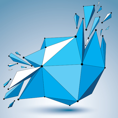 smashed: 3d vector low poly deformed object with connected black and white lines and dots, colorful geometric wireframe shape with fractures. Asymmetric perspective shattered form. Illustration