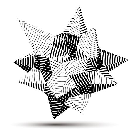 facet: 3D modern stylish abstract stripy vector construction, origami facet object constructed from different geometric parts.