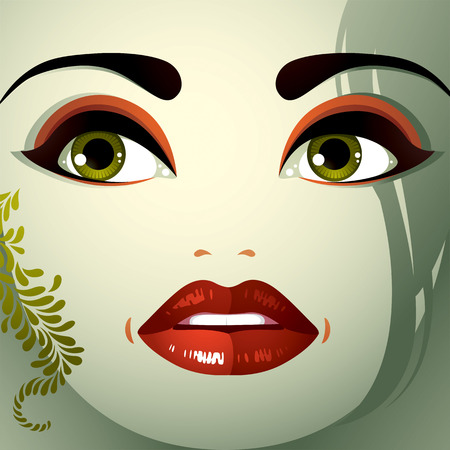 sorrowful: Attractive woman with stylish bright make-up and contemporary hairstyle. Sexy Caucasian sad and depressed lady. Decorative portrait.