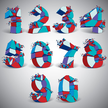 numeration: Set of 3d vector blue wireframe numbers broken into different fragments, geometric polygonal numeration with lines mesh. Low poly shattered typescript, perspective lattice elements. Illustration