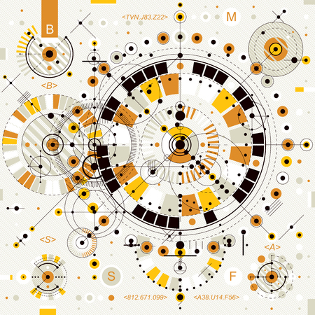 Dessin technique avec des lignes en pointillés et des formes géométriques, papier peint vecteur de technologie futuriste, projet d'ingénierie.