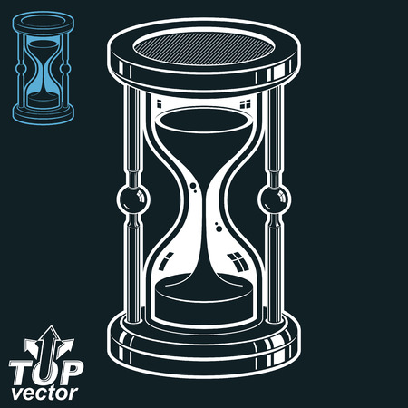 interim: Smooth detailed vector white sand-glass. Old-fashioned elegant 3d hourglass with pour sand. Time without end conceptual icon, includes invert version. Web design element. Illustration
