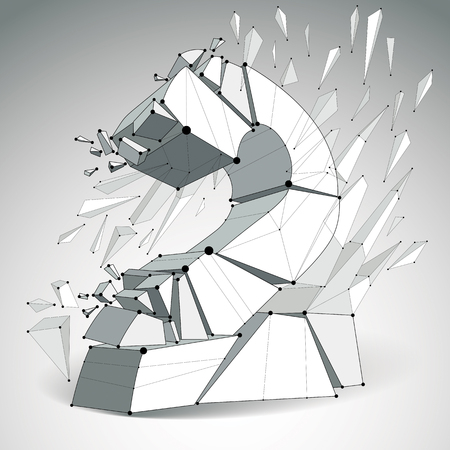 fragments: Vector dimensional wireframe number 2, monochrome demolished digit with fragments. 3d mesh technology element broken into pieces.