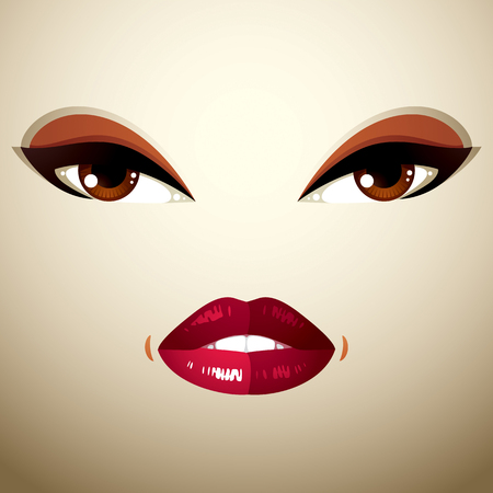 countenance: Coquette woman eyes and lips, stylish makeup. People negative facial emotions, anger.