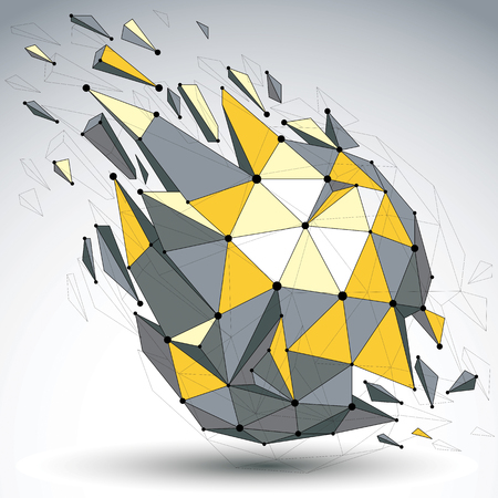 demolished: Perspective demolished shape, lines and dots connected, bright polygonal digital wireframe object. Explosion effect, faceted element cracked into multiple fragments. Communication technology. Illustration