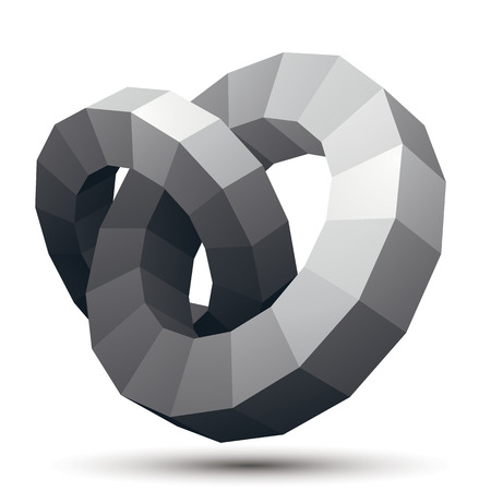 complicated: Complicated abstract grayscale 3D shape, vector digital object, circles. Technology theme. Illustration