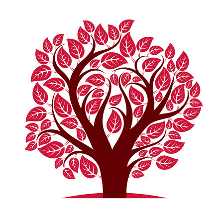 symbolic: Vector image of single branchy tree, nature concept. Art symbolic illustration of plant, forest idea.